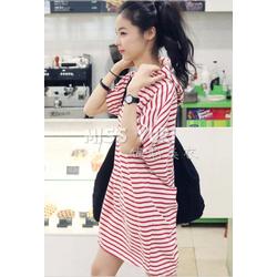 Áo thun Hàn Quốc kẻ sọc có nón phong cách thể thao năng động