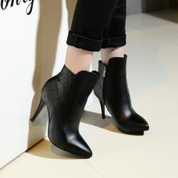 Giày bốt nữ cao gót cổ thấp sành điệu - Mã MM90104