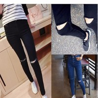 quần jeans skinny rách gối - Mã: QD757 - ĐEN