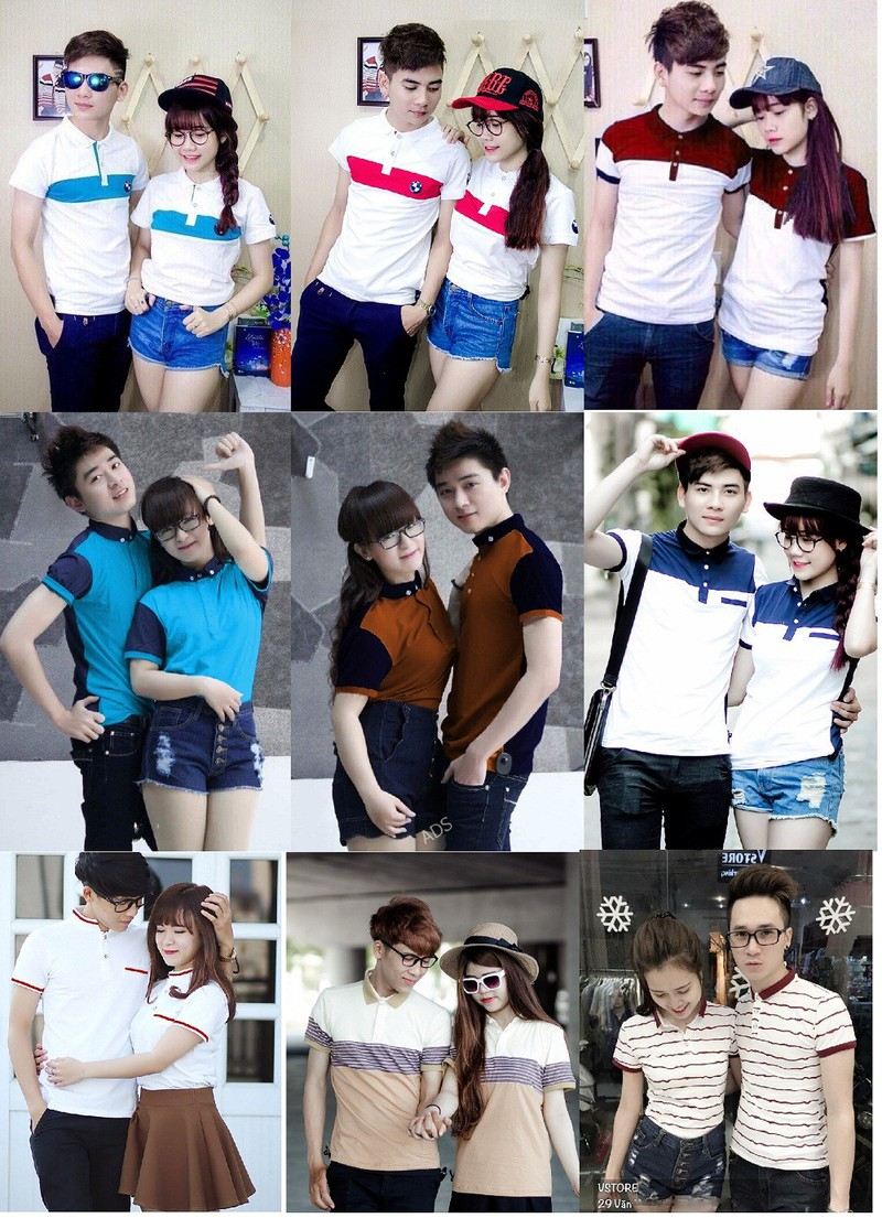 Bộ 2 áo thun đôi nam nữ giá 2 áo size S,M  AT0061 3