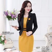 Set Áo Vest + Đầm Body Vàng phong cách Hàn