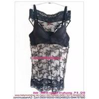 Shop đồ ngủ : Đầm ngủ thun lưới phối ren chất mát mẻ kiểu sexy DLS43