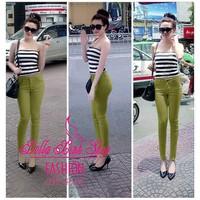 Quần Skinny color block lưng cao 1 nút xanh lá mạ - Quảng Châu