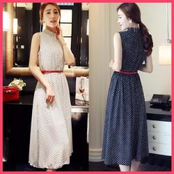 Đầm Vintage chấm bi cổ trụ - D145