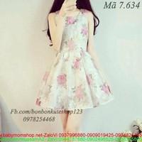 Đầm xòe sát nách xinh xắn với họa tiết hoa hồng DXV94