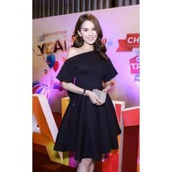 Đầm đen xoè thiết kế lệch vai Ngọc Trinh - D5681