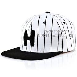 Nón snapback hip hop bóng chày sọc chữ H. Hàng nhập cung cấp sỉ lẻ