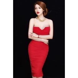 Đầm ôm body đỏ cúp ngực dễ thương D402
