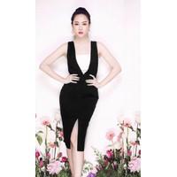 Đầm ôm body đen phối áo cúp ngực trắng D400