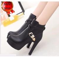 Giày boot cao gót dây chéo 1 khóa