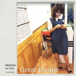 Đầm bầu xanh chấm bi cổ trái tim cực đáng yêu VBO004
