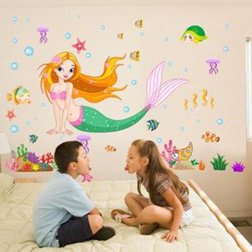 Decal dán tường trang trí nàng tiên cá