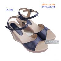 Giày nữ Huy Hoàng đế xuồng màu xanh đậm TX_253