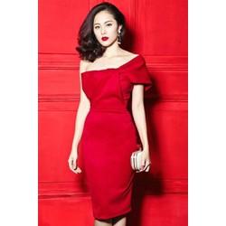 Đầm ôm body đỏ lệch vai nơ to D422