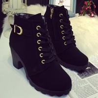 Giày boot da lì trang trí khoen ánh kim nổi bật BT232D-Doni86