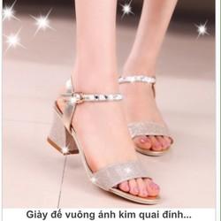 giày đế vuông ánh kim quai đính đá