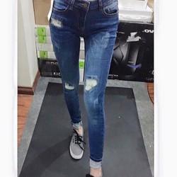 Quần Jean Skinny rách thêu J Style xuất chuẩn. Lưng cao ngang rốn