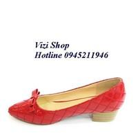 Giày caro đỏ gót vuông 3 phân N2