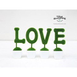 Bộ cây chữ LOVE màu rêu xanh