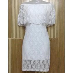 M267 - Đầm ren hoa mai trắng bẹt vai - 100