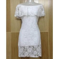M266 - Đầm ren hoa hồng trắng bẹt vai - 100