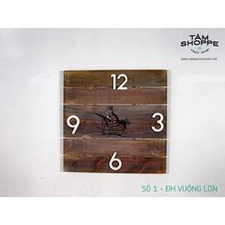 Đồng hồ gỗ VUÔNG cỡ lớn Số 1