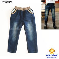 Quần jean dài túi phối màu