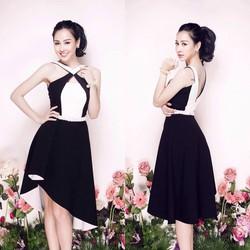 Đầm Cổ Yếm Phối Đen Trắng Giống Helen Thanh Thảo - d2655
