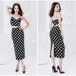 Set nguyên bộ áo váy 2 dây chấm bi ngọc trinh - SET1108