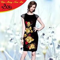 Đầm Hoa Hồng Vàng Ánh Kim May Mắn Cho Tết - D804