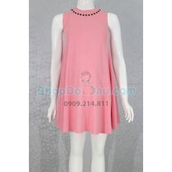 Đầm bầu cổ lọ - Kết nút - Suông A - Thun HQ