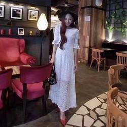 Đầm dạ hội ren tay loe lót ngắn SD555