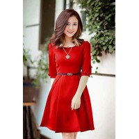 Đầm Xòe Đỏ Tay lỡ Dễ Thương