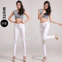 Quần jean trắng lưng cao 4 nút xinh xắn QJ169