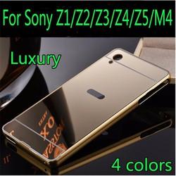 Sony Xperia Z3 - Ốp lưng điện thoại viền kim loại, nắp lưng gương