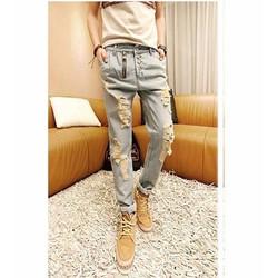 quần jeans dài rách nhiều nút Mã: ND0393 - XANH NHẠT