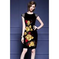 Đầm in 3D có size XXXL: Hoa Hồng Vàng Ánh Kim May Mắn Cho Tết