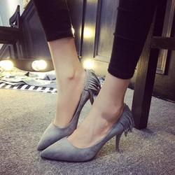 Giày cao gót nữ thời trang, thiết kế tua rua, kiểu dáng sành điệu