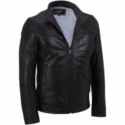 Áo Khoác Da Black Rivet Quilted Shoulder Leather Jacket