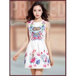 Đầm xòe nữ, thiết kế in họa tiết cú nổi bật, trẻ trung-D2301