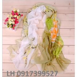 khăn choàng lụa họa tiết nhẹ nhàng phong cách hàn quốc mới L12308