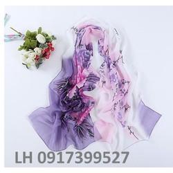 khăn choàng lụa họa tiết nhẹ nhàng thời trang mới L12310
