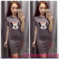Đầm thun ôm body hình cô chuột mickey dễ thương DTT63