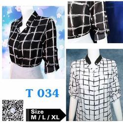 Áo somi caro nữ, có 2 màu là trắng và đen, M, L, XL