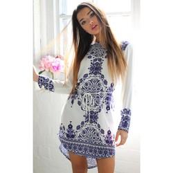 Đầm suông nữ tay lỡ họa tiết nổi bật cá tính-D2305