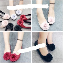 giày búp bê hoa hồng