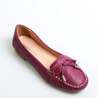 Giày mọi màu tím đính nơ chuông