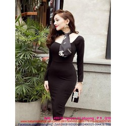 Đầm body công sở dài tay thiết kế sang trọng màu đen cá tính DOV502