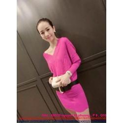 Đầm body công sở thiết kế cổ V len cao cấp màu hồng dễ thương DOV505