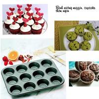 Khuôn Nướng Bánh Cupcake  Muffin Chống Dính 12 Lỗ 120